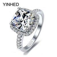 YINHED 100% 925 Sterling Zilveren Ring Sieraden Stamped S925 Grote 4 Carat CZ Diamant Trouwringen Voor Vrouwen MAAT 5 6 7 8 9 10 Z001