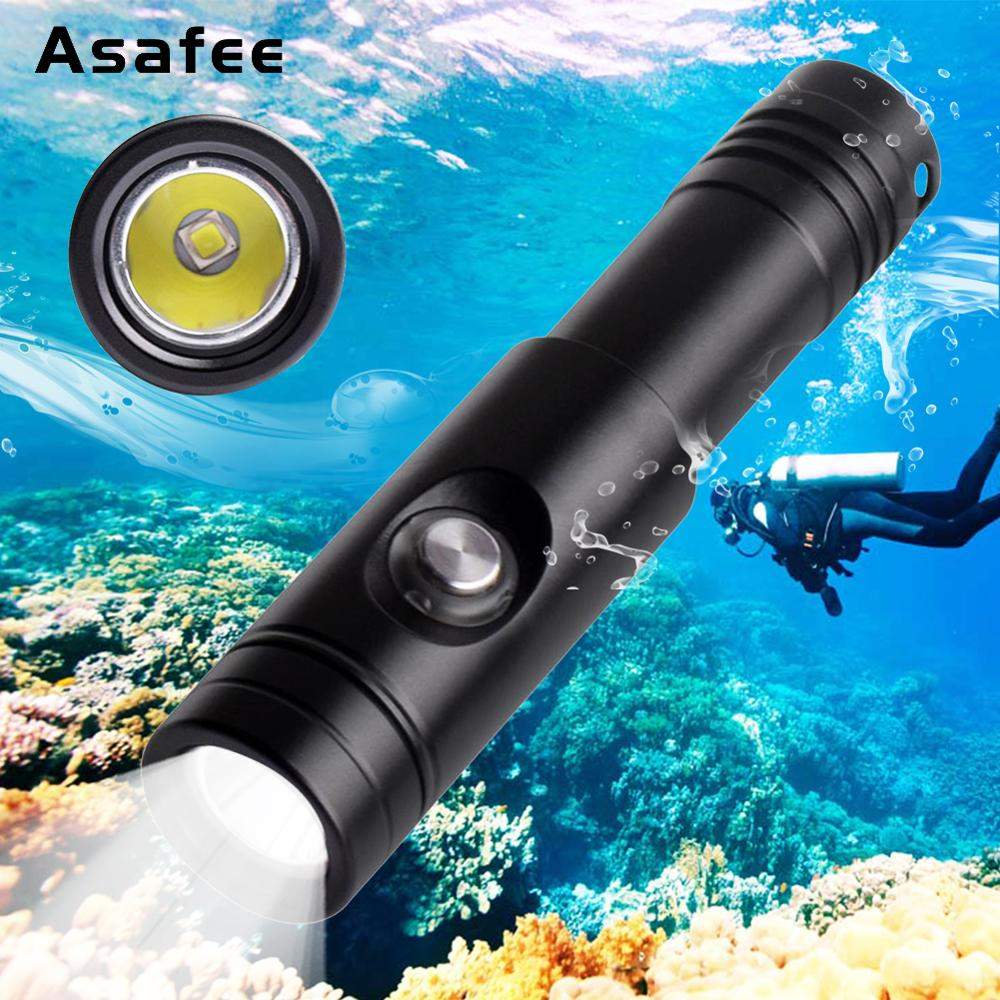 Asafee Night Diving Flashlight Scuba Torch 18650 Cree XM-L2 U4 LED Portable Waterproof Underwater Cave Dive Torch