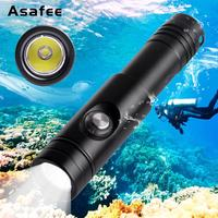Asafee Night Diving Flashlight Scuba Torch 18650 Cree XM L2 U4 LED Portable Waterproof Underwater Cave Dive Torch