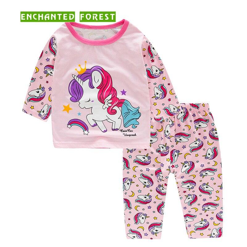 Girls Pajamas Set Spring and Autumn Childrens Cotton Modal Fabric Comfort Unicorn Animal Summer Baby