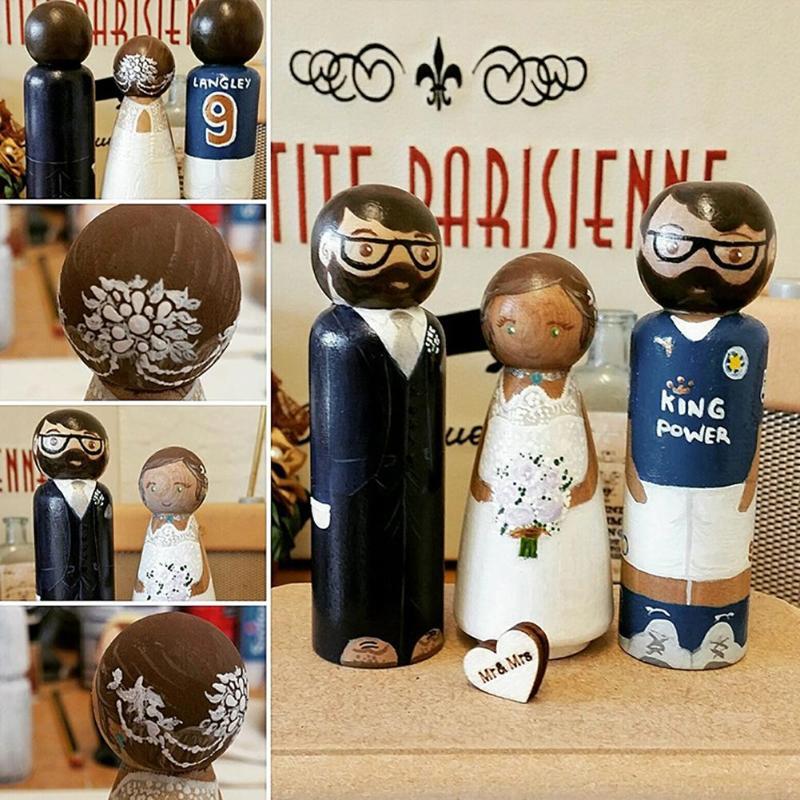 10pcs/Set Wooden DIY Peg Doll Wedding Home Handmade Puppet Kid Painted Toy Baby Children Wood Craft Toys