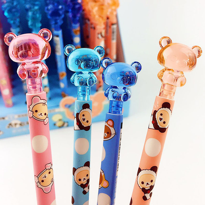 4 Pcs/lot Cartoon Panda Animal Mechanical Pencil Cute Kawaii Bear Plastic Automatic Pens For Writing Gift Office School Supplies