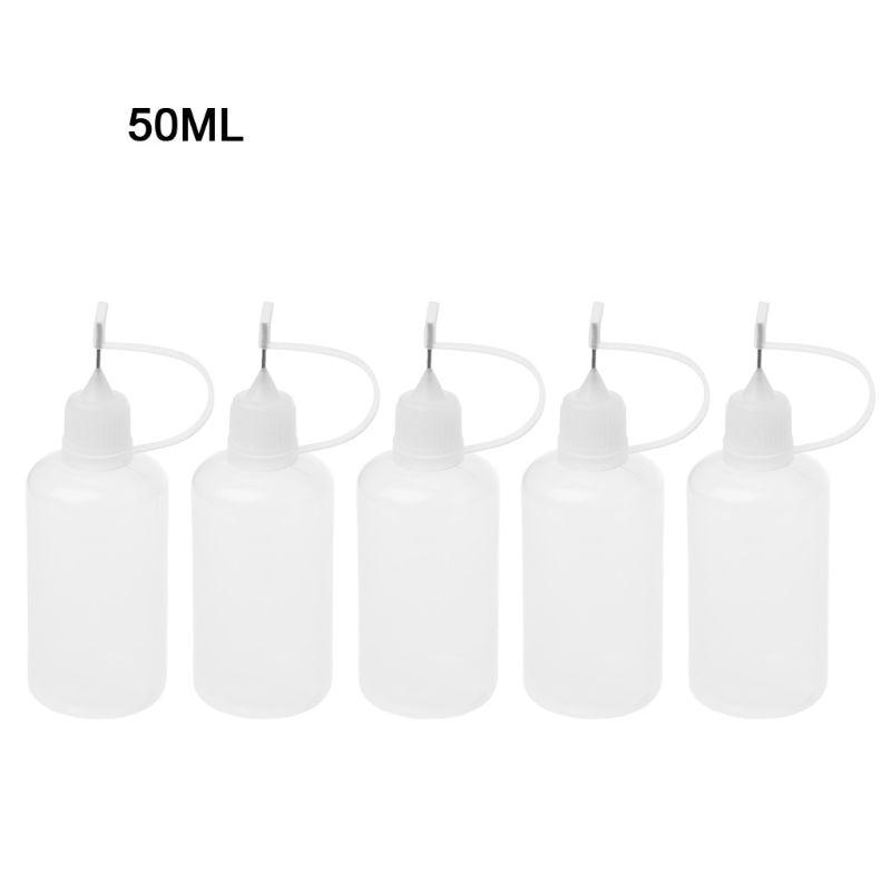 5 X50 Ml Empty Plastic Squeeze Liquid Dropper Bottle With Metal Needle For Vape Elronic Cigarette
