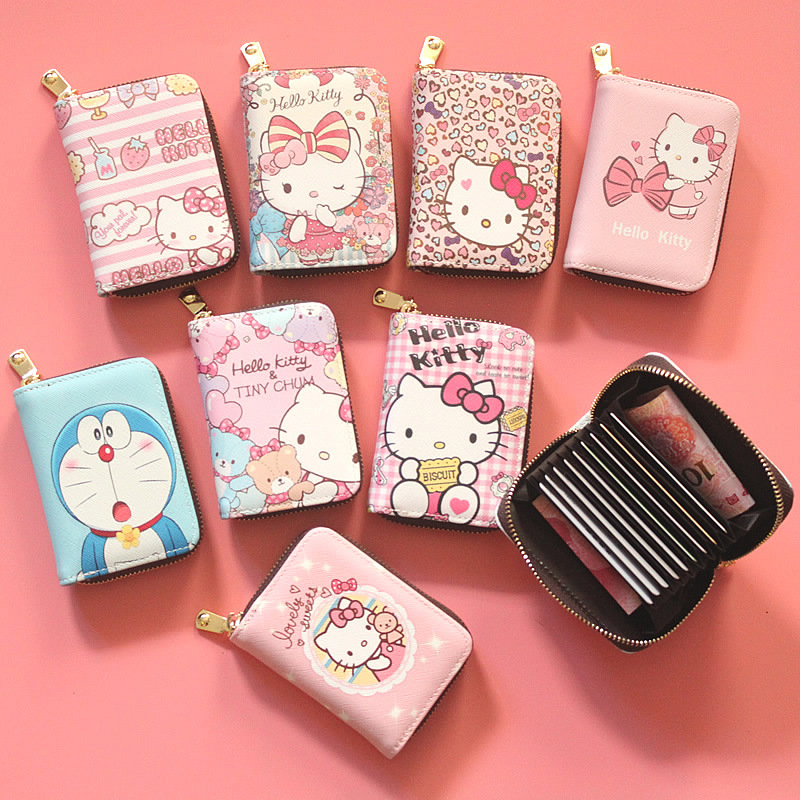 439733aac Cute hello kitty PU Leather Card Holder Box Women Business Card Cover  Credit Card Holder Organ design ID Card Case Coin wallet