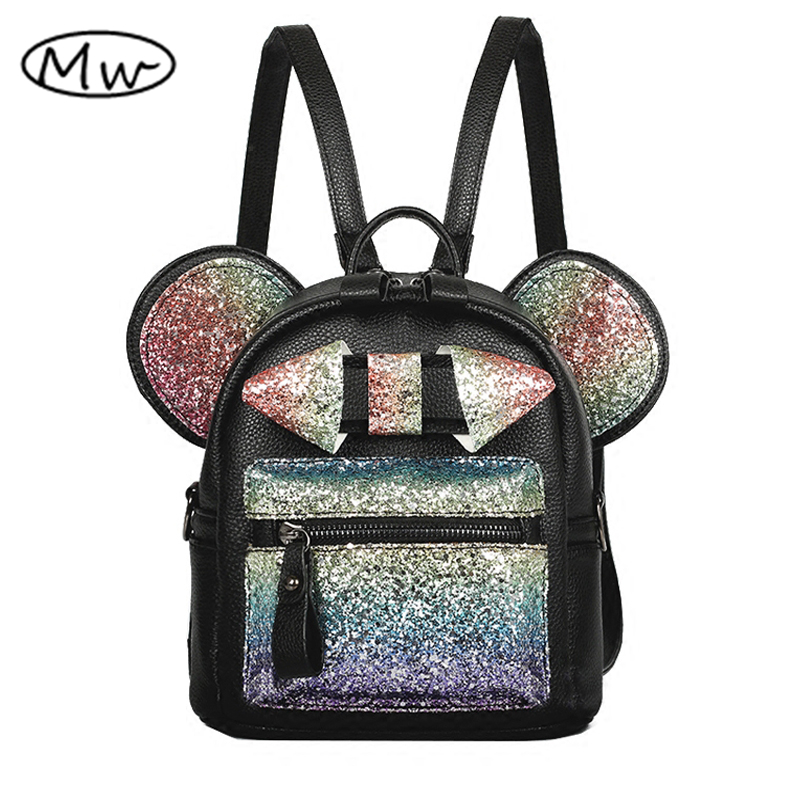 Moon Wood New Shiny Sequins Backpack Cute Mouse Ears Bag Women Mini Backpack PU Leather Backpack