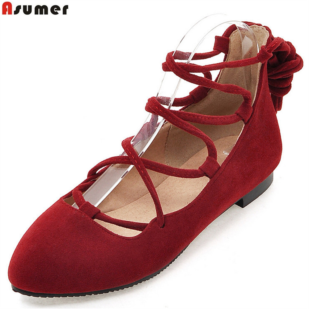 ASUMER red black fashion spring autumn new ladies flat shoes round toe cross tied casual women flock flats big size 33-43