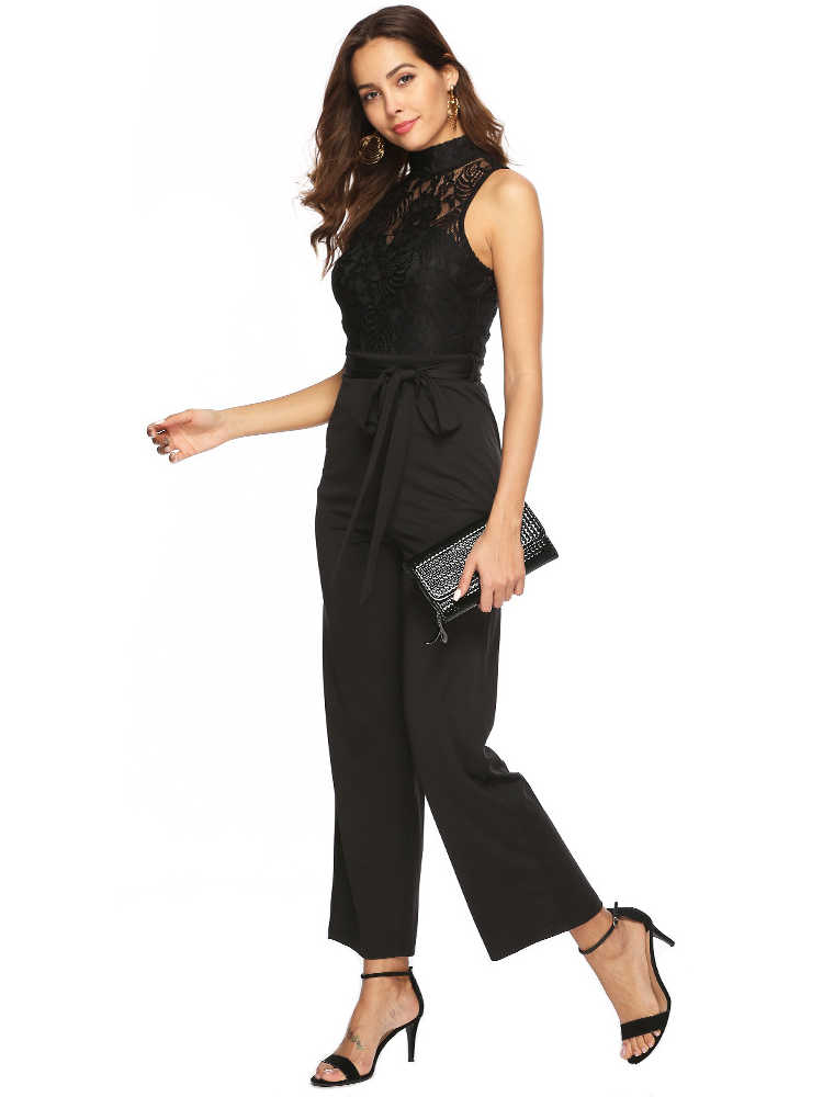 ผู้หญิงสีดำโปร่งใสลูกไม้ Elegant เซ็กซี่ Bodysuit Office สุภาพสตรี Overalls Modis ฤดูร้อน Playsuit