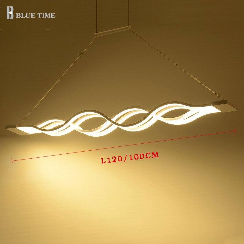 L120 100CM moderne pendentif LED lumière pour salle à manger salon cuisine Luminaires noir et blanc Simple pendentif LED lampe lampe à main