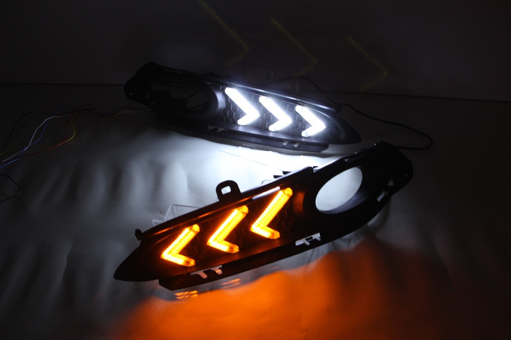 цена на free shipping!! LED DRL Daytime Running Light For Honda Vezel HRV HR-V 2014 2015 Ultra-bright with yellow turn signals