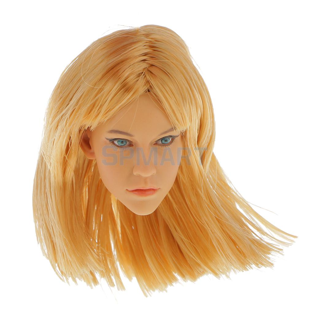 цена на 1/6 Scale Action Figure Female Blonde Hair Head Sculpt KM15-13 For 12 inch Hot Toys Phicen Kumik Body