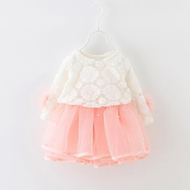 Spring Autumn Long Sleeved Flower Beaded Infant Kids Baby Bebe Girls Lace Tops+Dresses Two Piece Princess Tutu Party Dress MT642