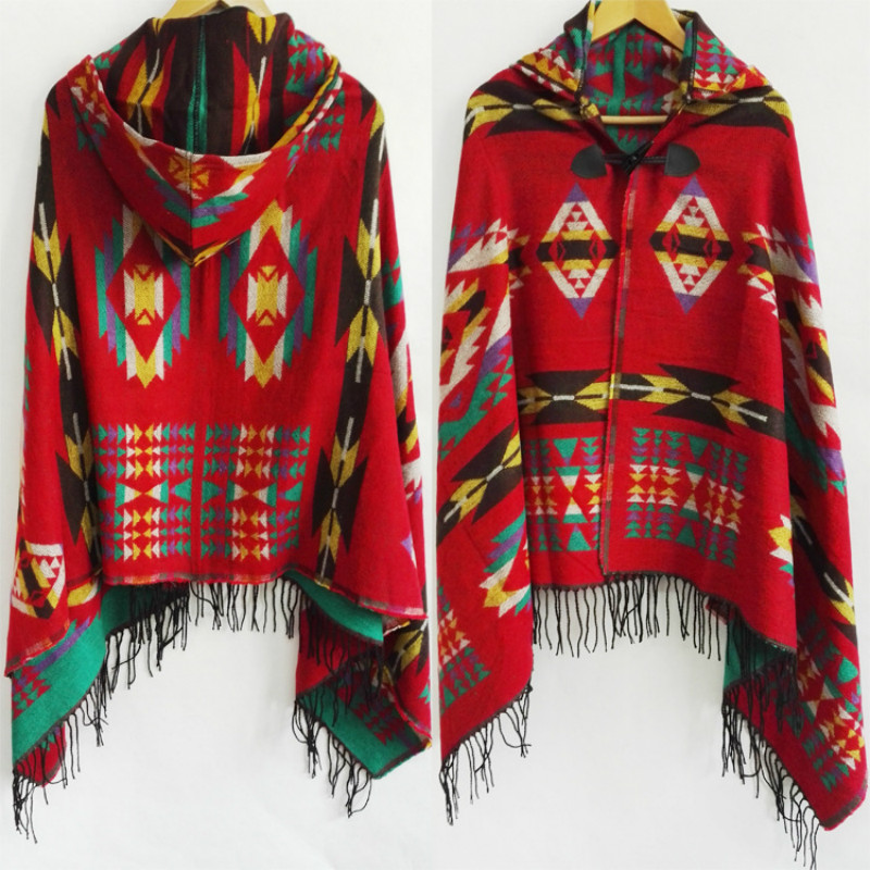 Ethnic Multifunction Bohemian Shawl Scarf Tribal Fringe Hoodies Jacket Striped Cardigans Blankets Cape Shawl Tassels Poncho Coat