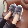 slip ons shoes platform flats 2017 New winter boots Fashion Real Fur Shoes Woman ears Shoes Female Low Cut Casuals leisures 060
