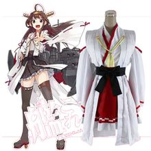 ed50bf3b6bdcc Anime Kantai Collection Cosplay Costume Haruna Kimono Black Red Adult Women  Costumes Plus Size Garment