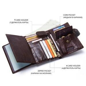 Image 4 - CONTACTS Top qualité véritable portefeuille en cuir de vache hommes moraillon Design court sac à main avec passeport porte Photo pour hommes portefeuilles dembrayage