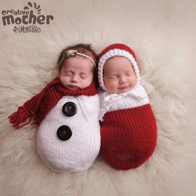 2 шт./компл. Детское Фото Реквизит Рождество Вязания Шапочки Hat + Спальный Мешок