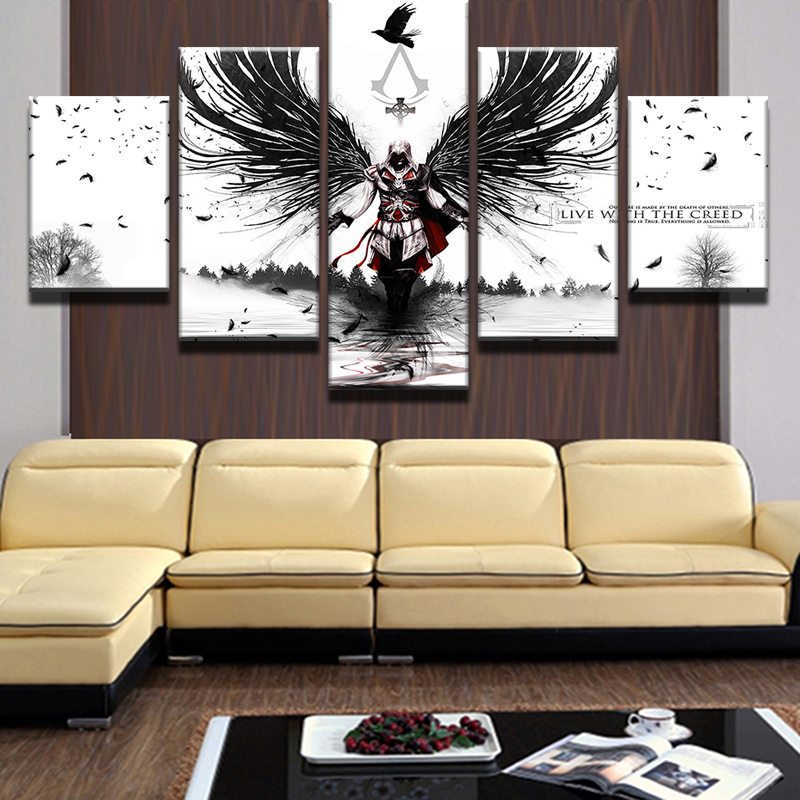 5 Panels Modular Picture Assassins Creed Canvas Painting Wall Art ...