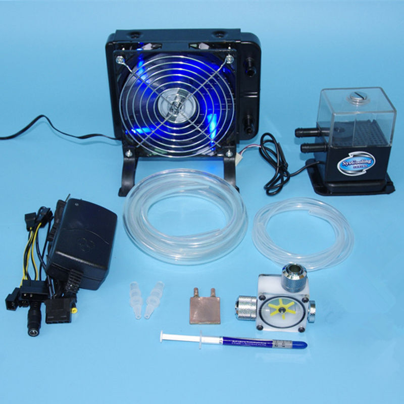 DIY Laptop CPU GPU water liquid cooling cooler radiator Copper Block water Pump+water tanks+fins Heat sink fans sets system kit stainless steel water cooling waterblock buckles heatsink block liquid cooler for cpu gpu laser head industrial control cabinet