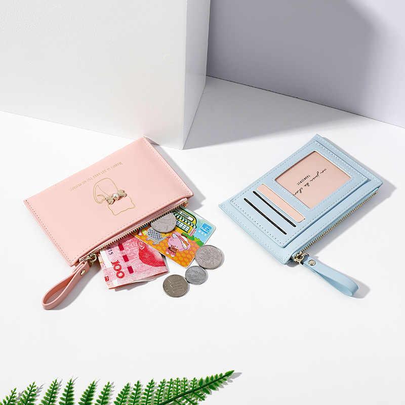Nova moda feminina carteira titular do cartão de crédito marca de negócios menina mini carteiras bolsa paquete de tarjeta chica
