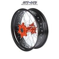 5*17 Supermotard задние колеса оранжевый концентратор черная оправа для KTM SXF EXC R XC F SX EXC 300 450 125 250 350 530 2003 2017 2008 2007