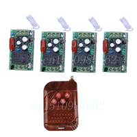 Free Shiping 220V 10A 1CH Wireless Remote Control Switch RF 4 Receiver 1 Transmitter Relay Momentary