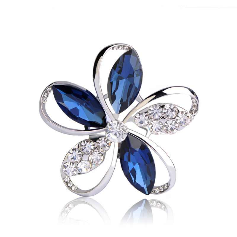 75022e578 Blucome Gorgeous Blue Crystal Flower Brooches For Women Kids Hats Scarf  Buckles Zircon Jewelry Party Corsages