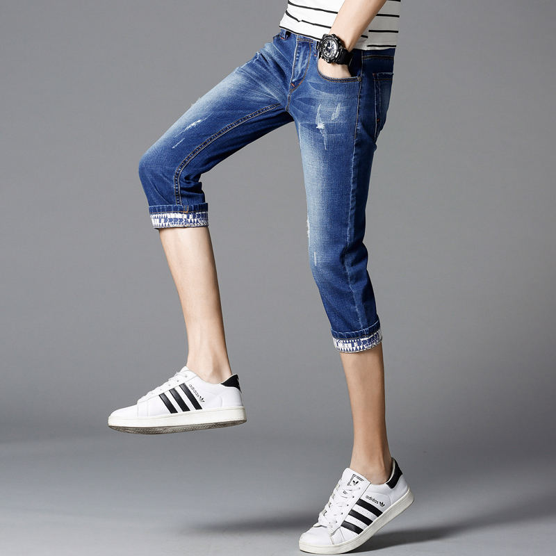 Retro jeans shorts mens high waist knee summer thin shorts straight casual slim with elastic slender trend cropped trousers