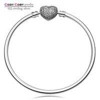 Authentic 925 Sterling Silver Bangle Love Heart Charm Pave CZ Original Logo Beads Fit DIY Bracelet
