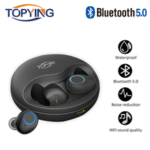 TOPYING Bluetooth Earphones 5.0 TWS Mini Wireless Headset  Earphone with 500mAh charging box Sports Earbuds Gaming for all phone