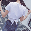 Estilo coreano de Manga Corta Crop Tops Vendaje Mujeres de la camiseta Ocasional Negro Blanco Camiseta camiseta feminina Recortada camiseta femme