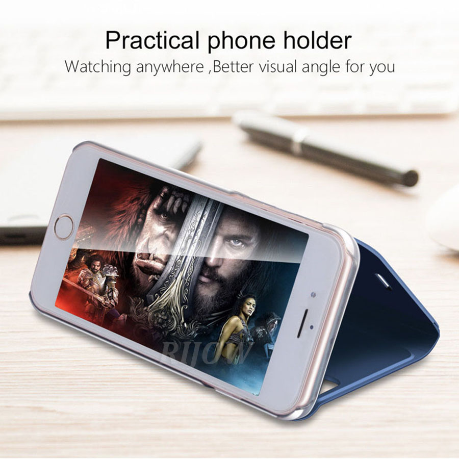 RIJOW Smart Mirror View Case For OPPO F9 Pro Leather Stand