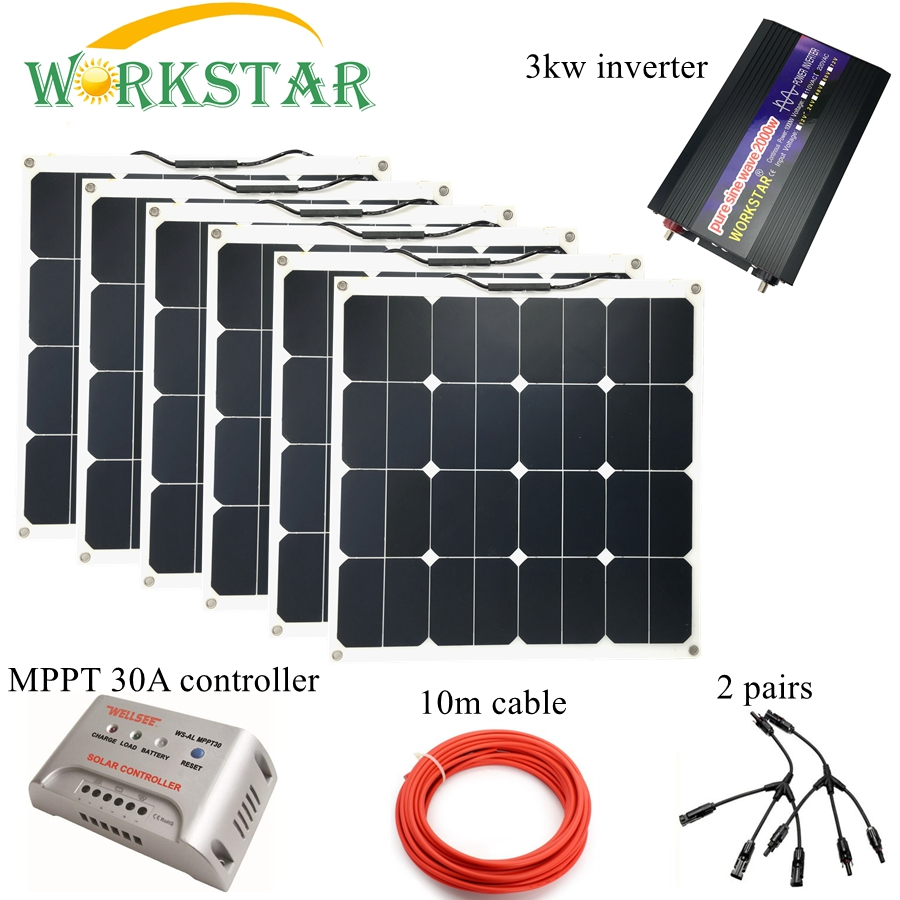 Sunpower 6pcs 50W 18V Flexible Solar Panel Modules Boat Car RV 12V Battery Solar Charger 300W Complete Solar System