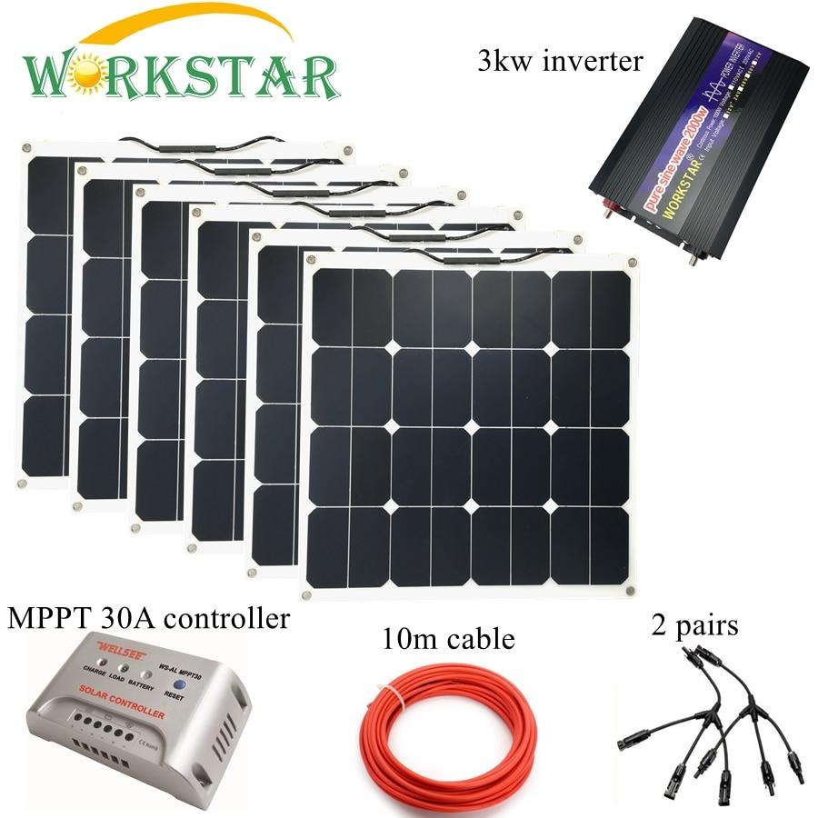 Sunpower 6pcs 50W 18V Flexible Solar Panel Modules Boat Car RV 12V Battery Solar Charger 300W Complete Solar System akg y50 red