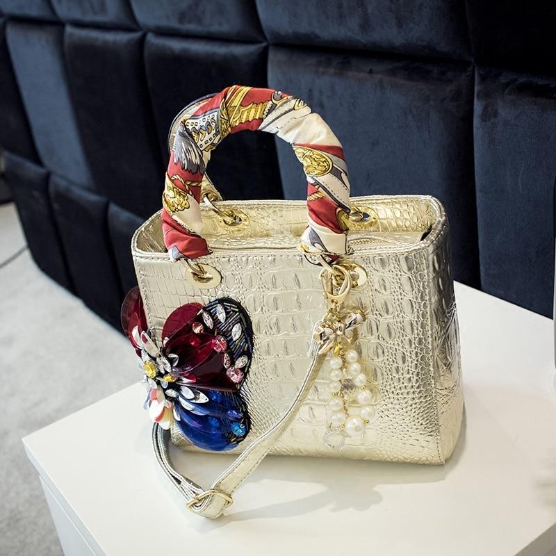 Image 3 - 2020 Luxury fashion diamonds Womens handbags butterfly drill  rhinestone shoulder messenger bag Crocodile pattern crossbody  bagsShoulder Bags