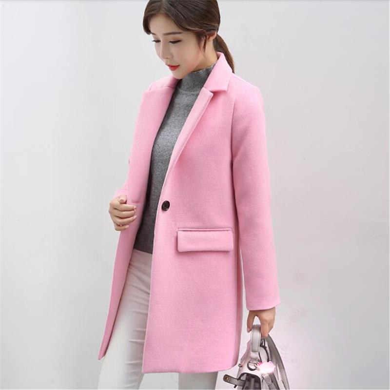 Длинное шерстяное пальто Для женщин куртка Осень корейской розовый Теплый из искусственной шерсти Куртка Верхняя одежда Для женщин модные элегантные пальто Женская зимняя обувь пальто