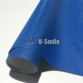 High Quality Deep Blue Sparkle Bling Sand Vinyl Wrapping Folie Bubble Free For Phone Laptop Cover Size:1.52*30M image