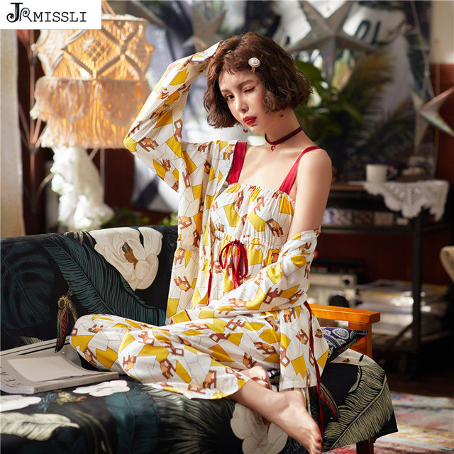 9340cf9ebc4d JRMISSLI Sleep Lounge juegos de pijama algodón 3 piezas pijamas estampados  mujer Pijamas lindos primavera traje casa