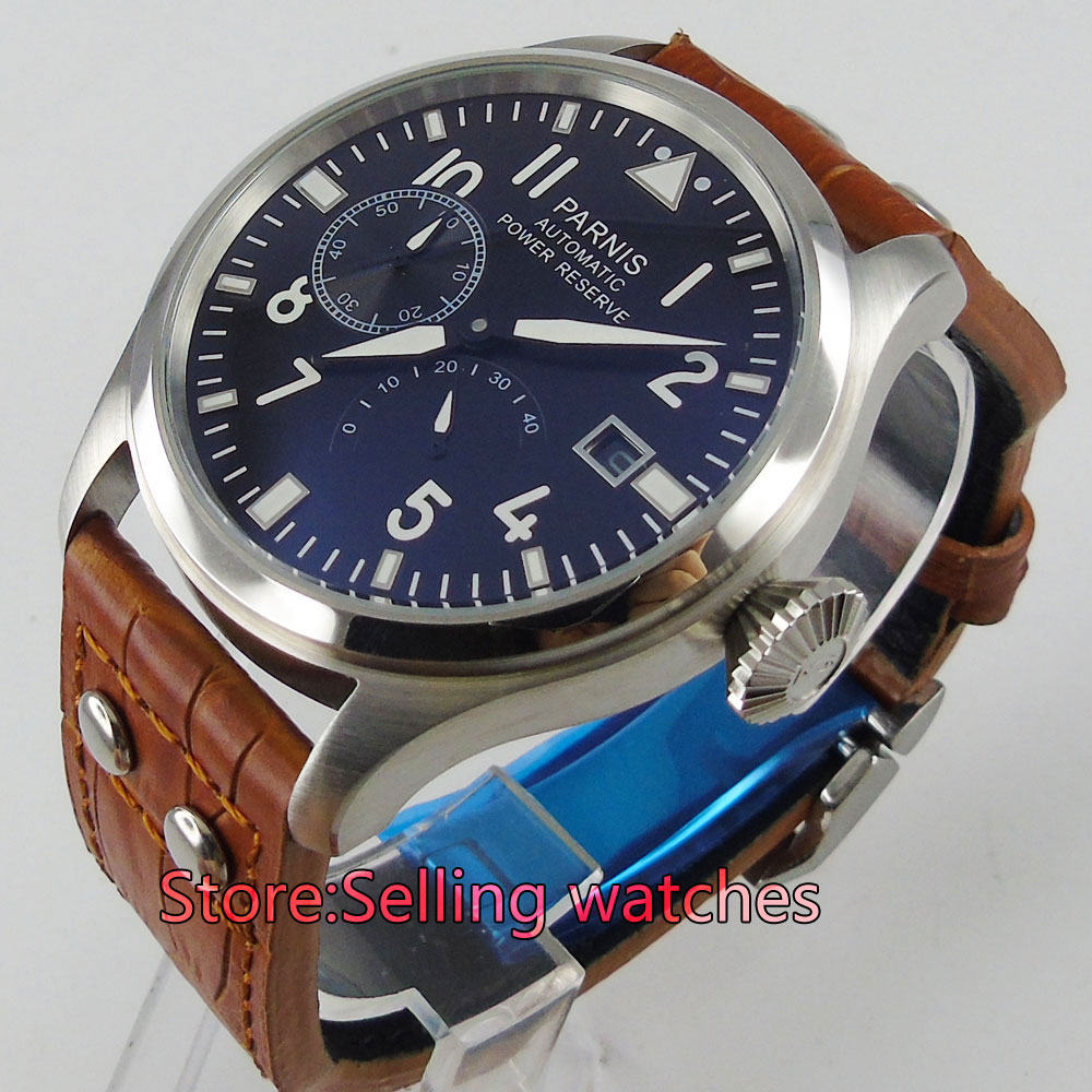 47mm parnis black dial power reserve date automatic brown strap mens watch все цены