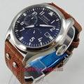 47mm parnis schwarzes zifferblatt power reserve datum automatische braunem armband herrenuhr
