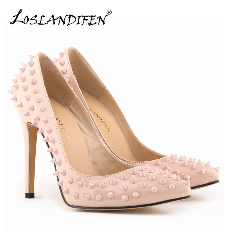 LOSLANDIFEN Rivets Women Pumps Fashion Pointed Toe Thin Heels Pumps Leather Party Shoes For Women High Heels Lady Rivets Shoes