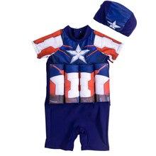 Плавающий купальный костюм для мальчиков с изображением Капитана Америки UPF50+ рукав, Рашгард, детский цельный купальник на коленях