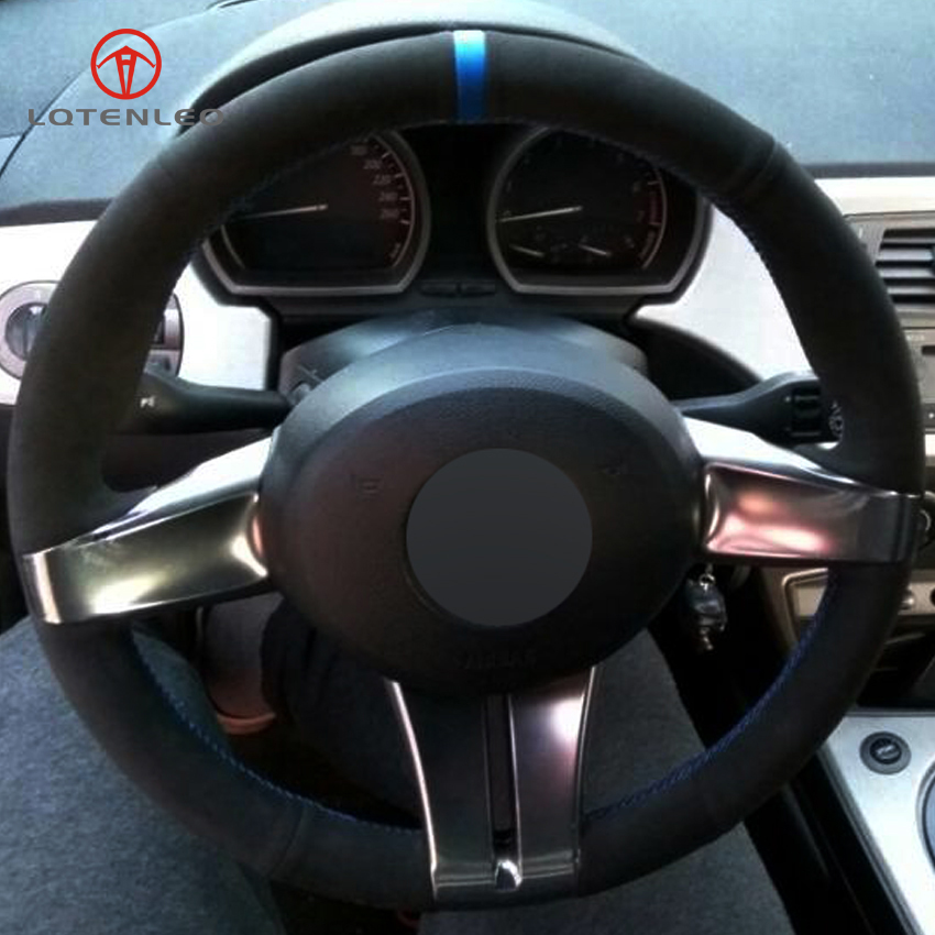 Lqtenleo Black Suede Diy Hand Stitched Car Steering Wheel