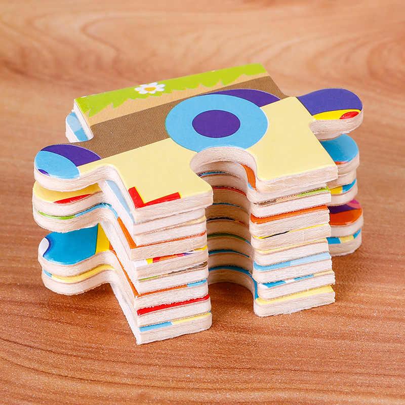 Mini Puzzle ze zwierzętami Puzzle drewniane układanka 3D dla dzieci Puzzle dla dzieci Puzzle ze zwierzętami s zabawki edukacyjne 11*11CM