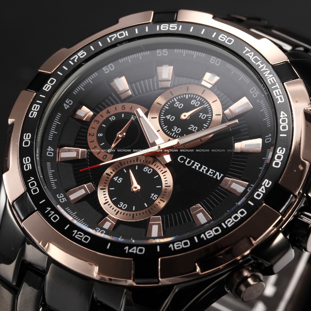 Curren Military Sport Mens Watches Top Brand Luxury Black Stainless Steel Quartz Men Watch Fashion Male Watch Relogio Masculino relogio masculino date mens fashion casual quartz watch curren men watches top brand luxury military sport male clock wristwatch