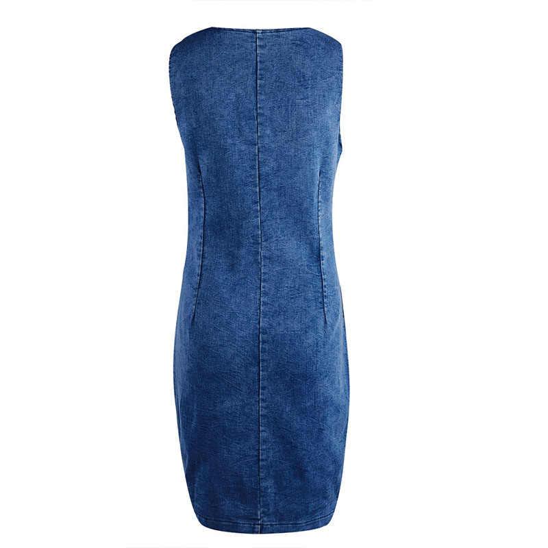 Джинсовое платье для женщин 2019 летнее облегающее платье с квадратным вырезом без рукавов на молнии джинсовое платье мини Винтажное элегантное дамское вечернее платье