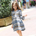 New Arrival 2016 Autumn Girls Little Floral Dress Long Sleeve Kids Loose Dress Toddler Baby Dress Children Bohemian Dress,5-15Y
