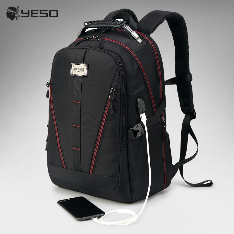 YESO USB Charging Backpack Men Large Capacity Multifunction Teenager Waterproof Oxford Travel Laptop Backpacks For Women