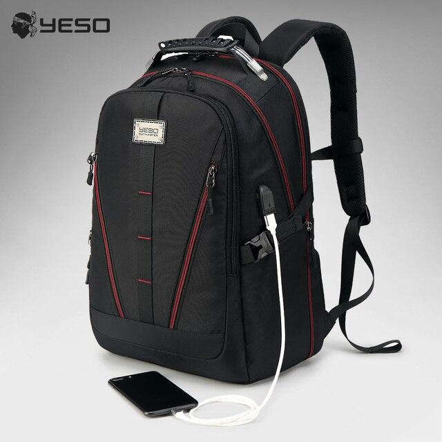 YESO Homens Mochila Grande Capacidade de Carregamento USB Multifunction Oxford Saco de Viagem Mochilas Laptop Para Mulheres Homens Adolescente À Prova D' Água