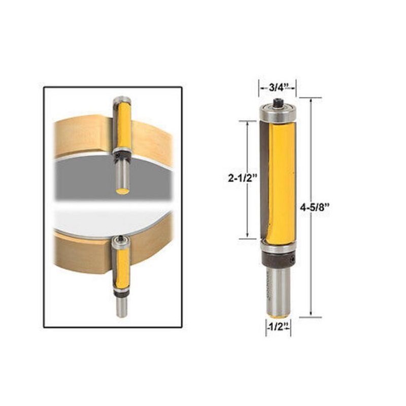 1PCS 1/2 Shank Pattern/Flush Trim Router Bit 2-1/2 Cutter Top & Bottom Bearing Bit freeshipping 1pc flush trim pattern router bit 1 2 shank top