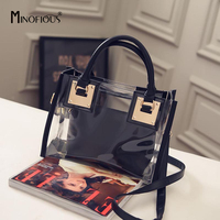 MINOFIOUS Transparent Beach Shoulder Bag PVC Solid Composite Bags Women Clear Small Handbags Jelly Tote Bag Candy Handbag
